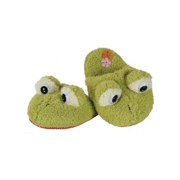 Papuci de plus copii broscuta marime 32-34 foarte pufosi