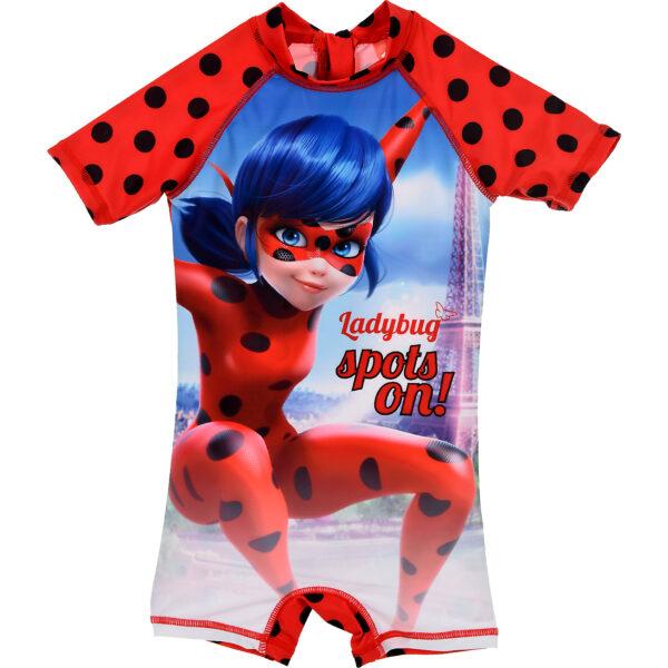 Costum de baie UV cu maneci scurte si fermoar LadyBug