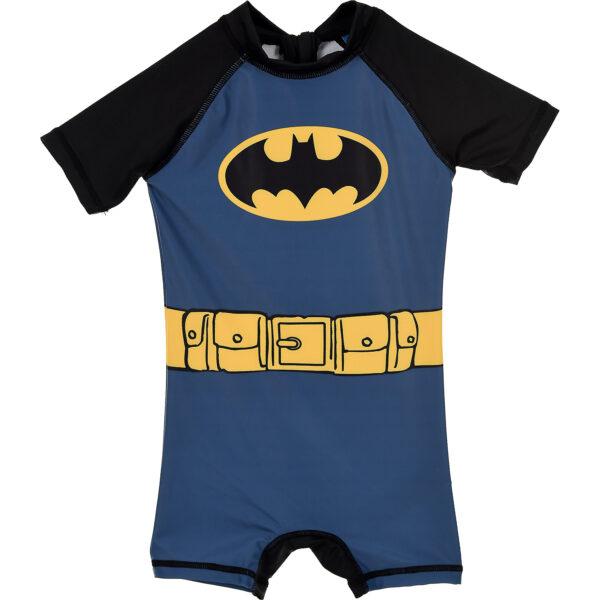 Costum de baie UV cu maneci scurte si fermoar Batman